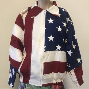 Jackets & Blazers - 4th of July! Vintage American flag light jacket S